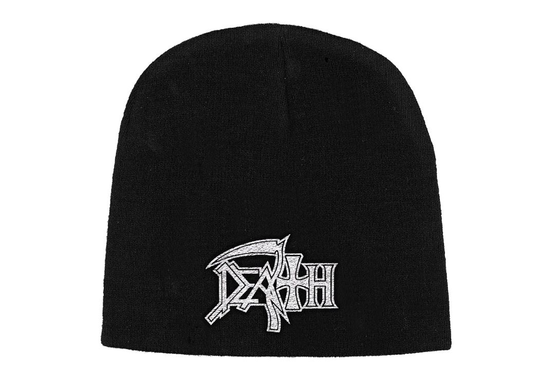 Official Band Merch | Death - White Logo Embroidered Knitted Beanie Hat