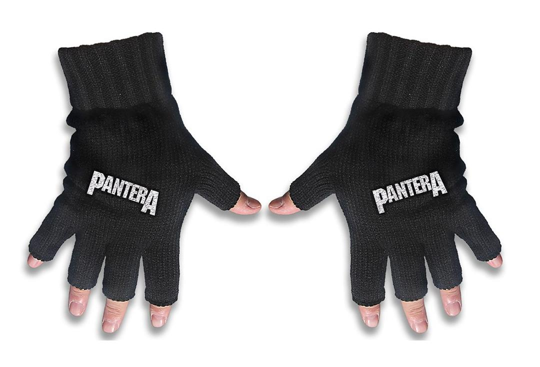 Official Band Merch | Pantera - Logo Embroidered Knitted Finger-less Gloves