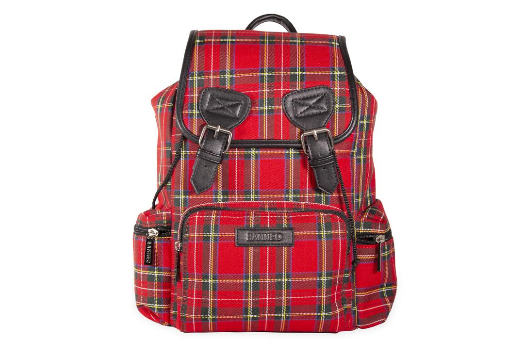 Banned Apparel | Kenneth Red Tartan Backpack - Front View