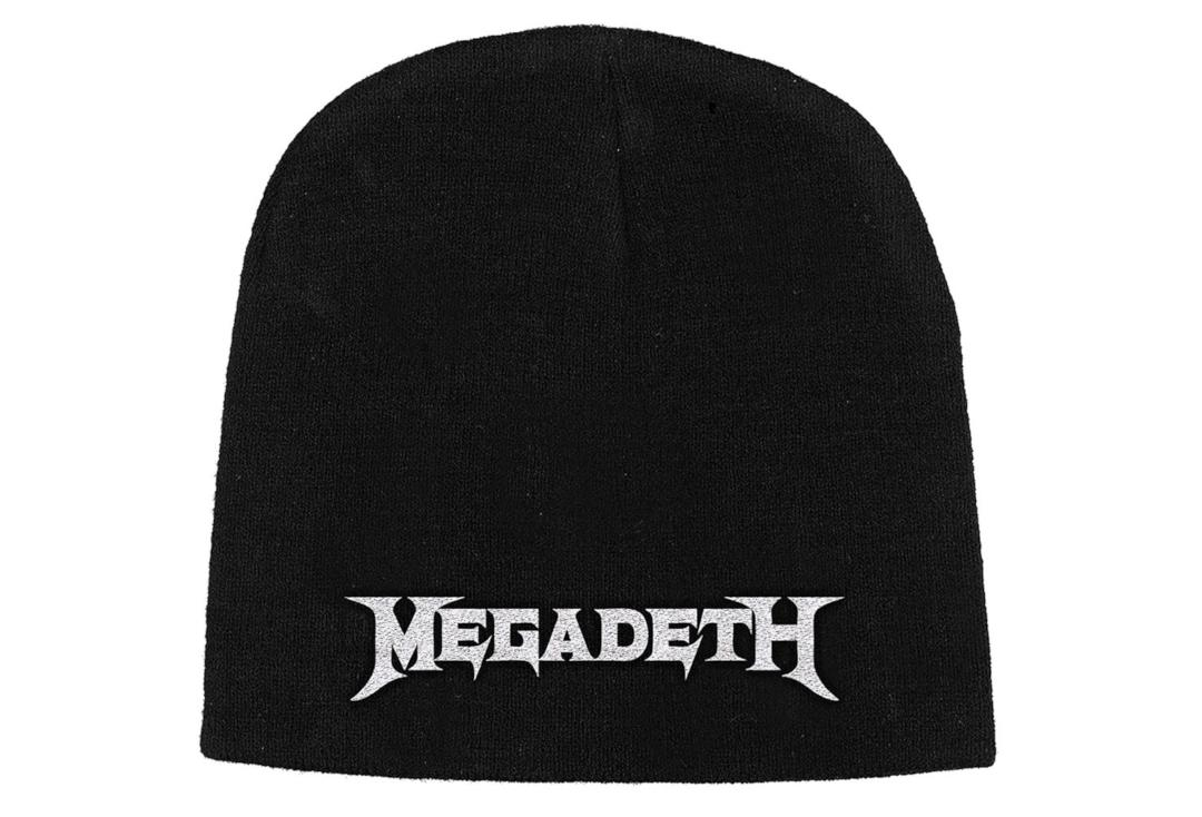 Official Band Merch | Megadeth - White Logo Embroidered Official Knitted Beanie Hat