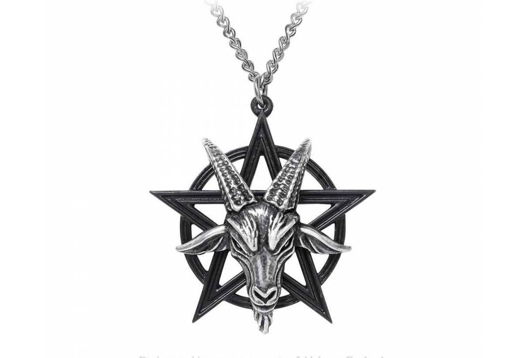 Alchemy Gothic | Black Pentagram Baphomet Necklace - Main