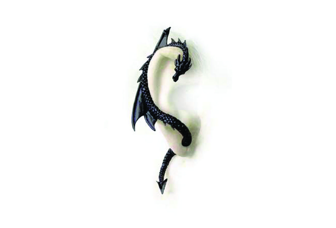 Alchemy Gothic | Dragon's Lure Ear Wrap (Black) - Right