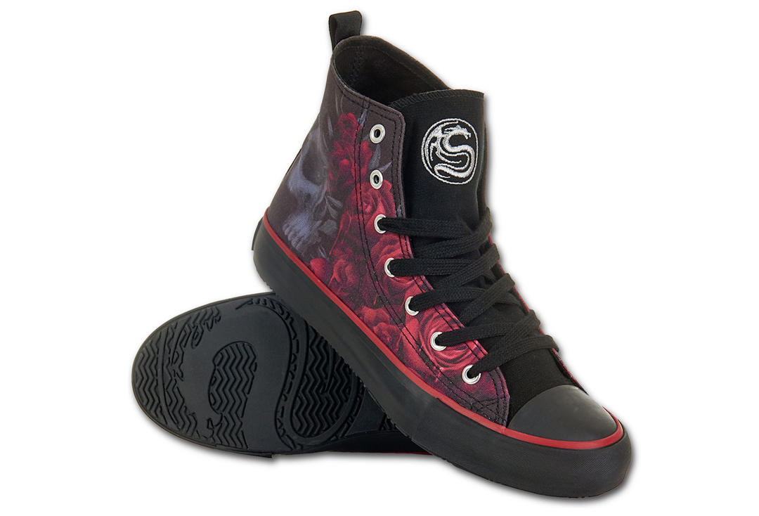 Spiral Direct | Blood Rose Women's Lace Up High Top Sneakers - Main