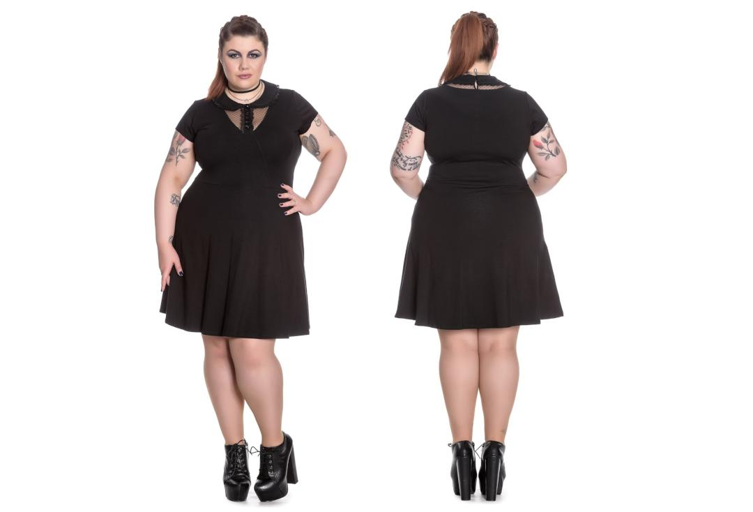 Spin Doctor | Ebony Black Mini Dress - Front & Back View
