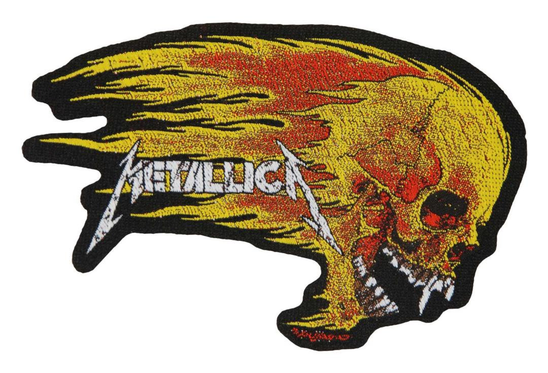 Official Band Merch | Metallica - Flaming Skull Woven Patch