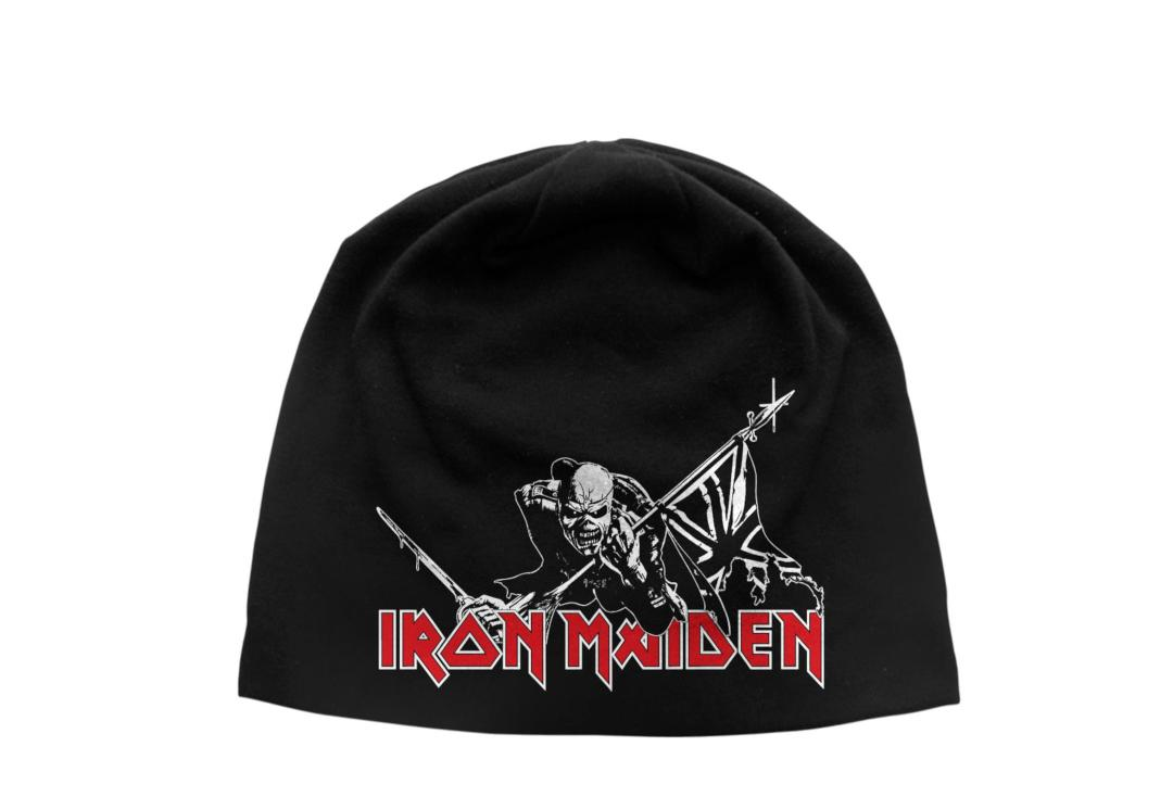 Official Band Merch | Iron Maiden - Trooper Discharge Printed Jersey Beanie