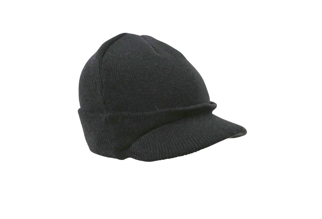 Kombat | Plain Black Peak Beanie Hat