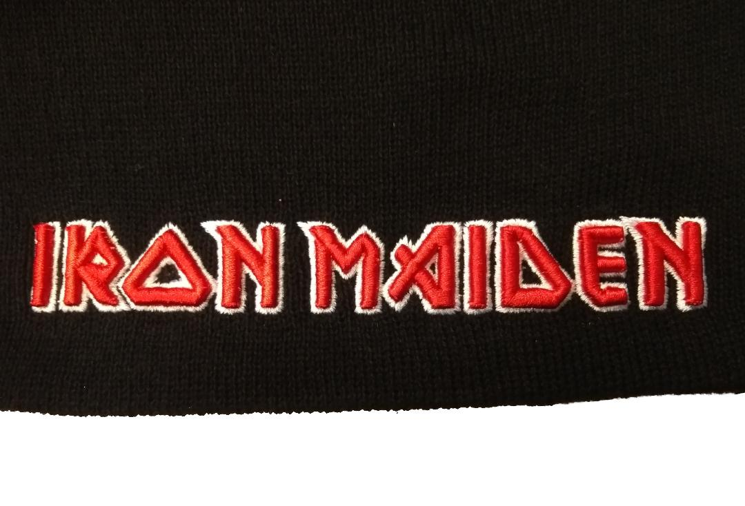 Official Band Merch | Iron Maiden - Logo Beanie Hat - Close Up