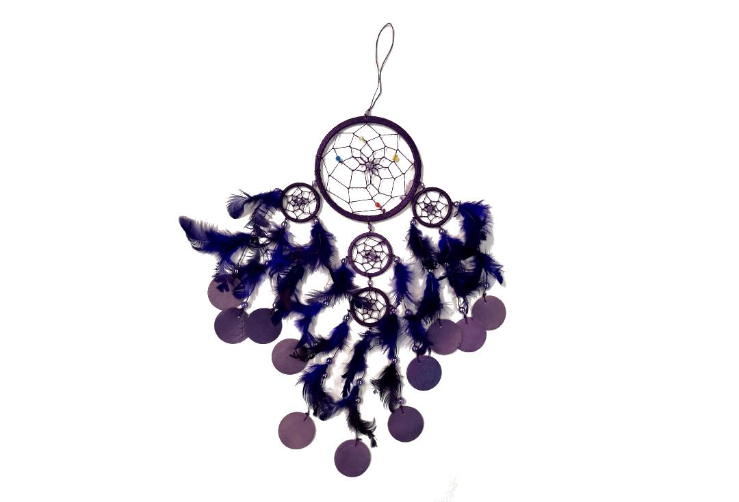 Void Clothing | Purple Feather & Shell Disc Dream Catcher