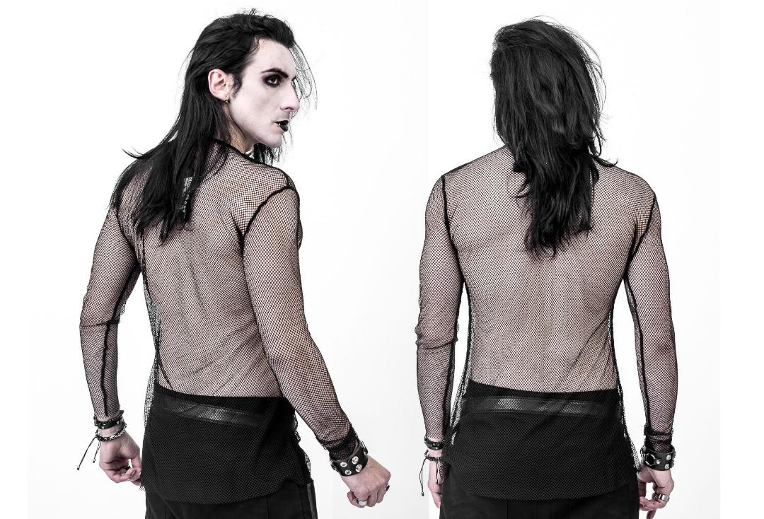 Necessary Evil | Kane Black Fishnet Top - Back