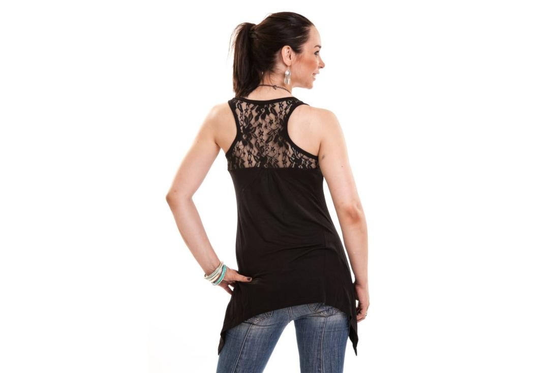 Innocent Lifestyle | Amber Black Lace Panel Vest Top - Back