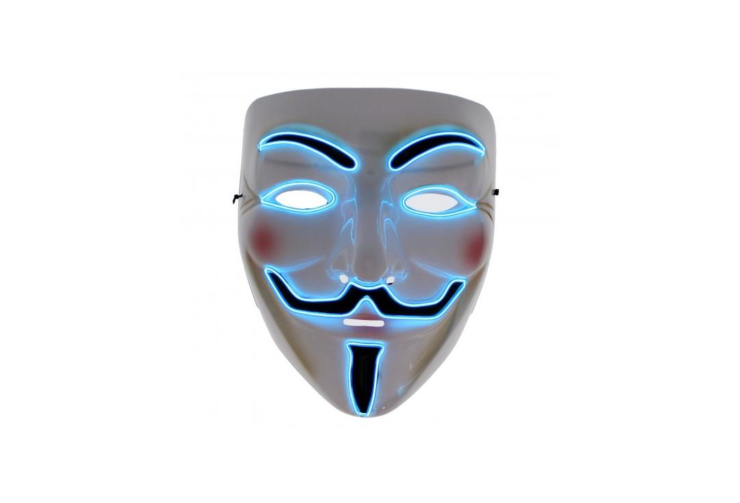 Void Clothing | Vendetta Blue LED Light Up Plastic Mask