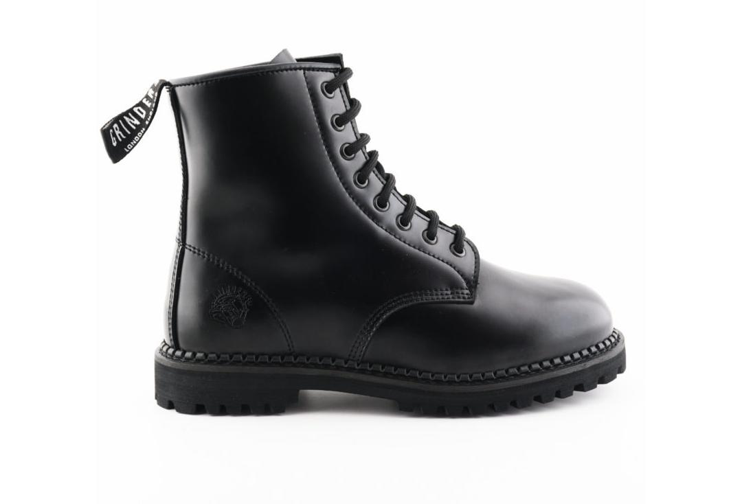 Grinders | Cedric Women's Black Leather Boots - Outer Side View