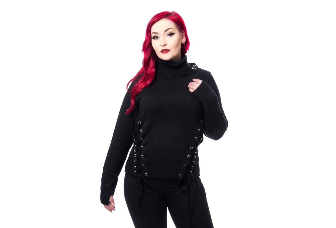 Chemical Black | Black Tegan Lace-Up Jumper - Front
