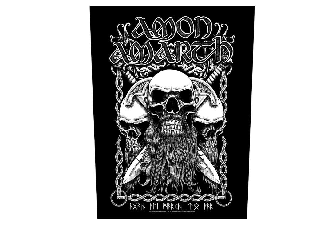 Official Band Merch | Amon Amarth - Bearded Skulls Printed Back Patch