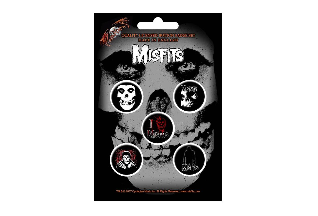 Official Band Merch | Misfits - Skull Button Badge Pack