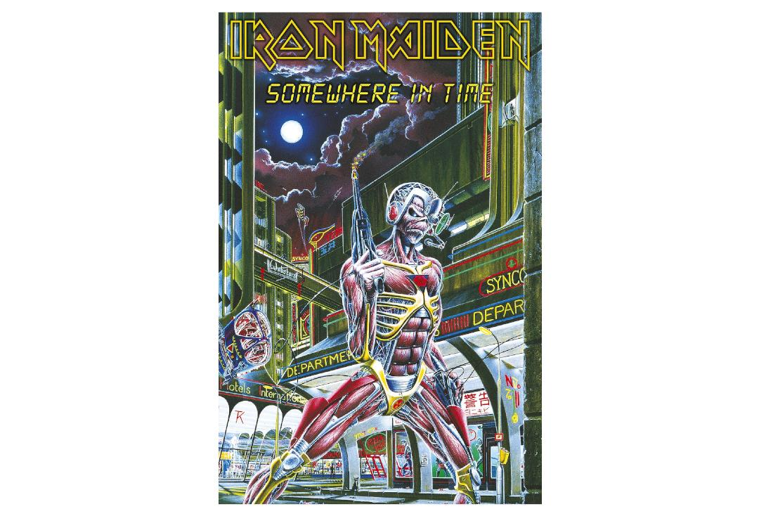 Official Band Merch | Iron Maiden - Somewhere In Time Printed Textile Poster