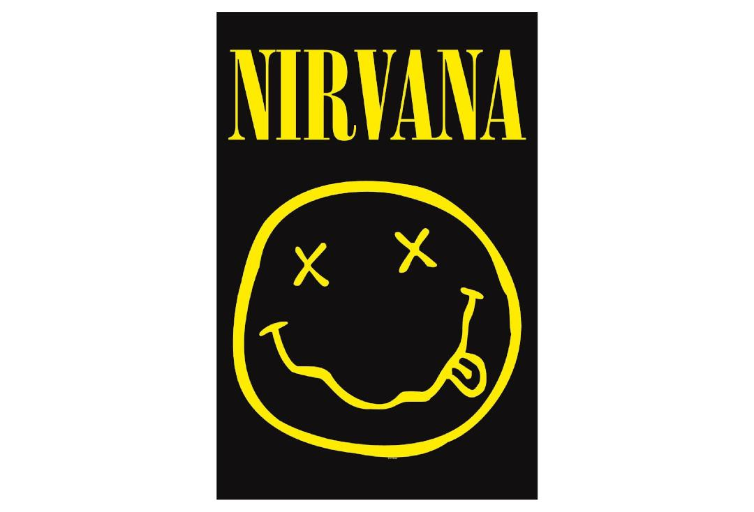 Official Band Merch | Nirvana - Smiley Printed Textile Poster