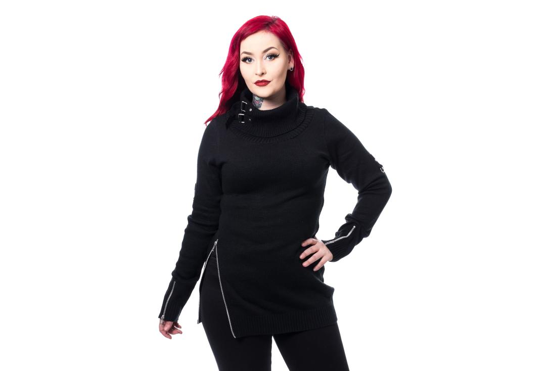 Poizen Industries | Saffron Black Roll Neck Jumper - Front