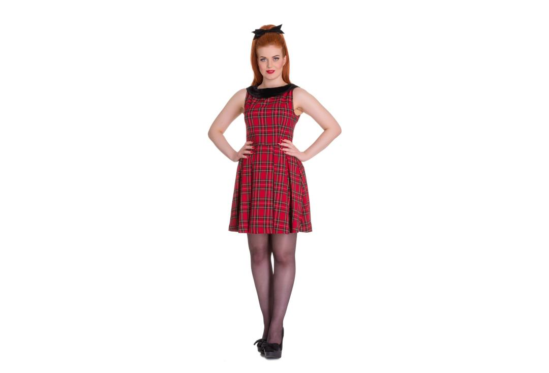 Hell Bunny | Eleanor Red Tartan Dress - Front