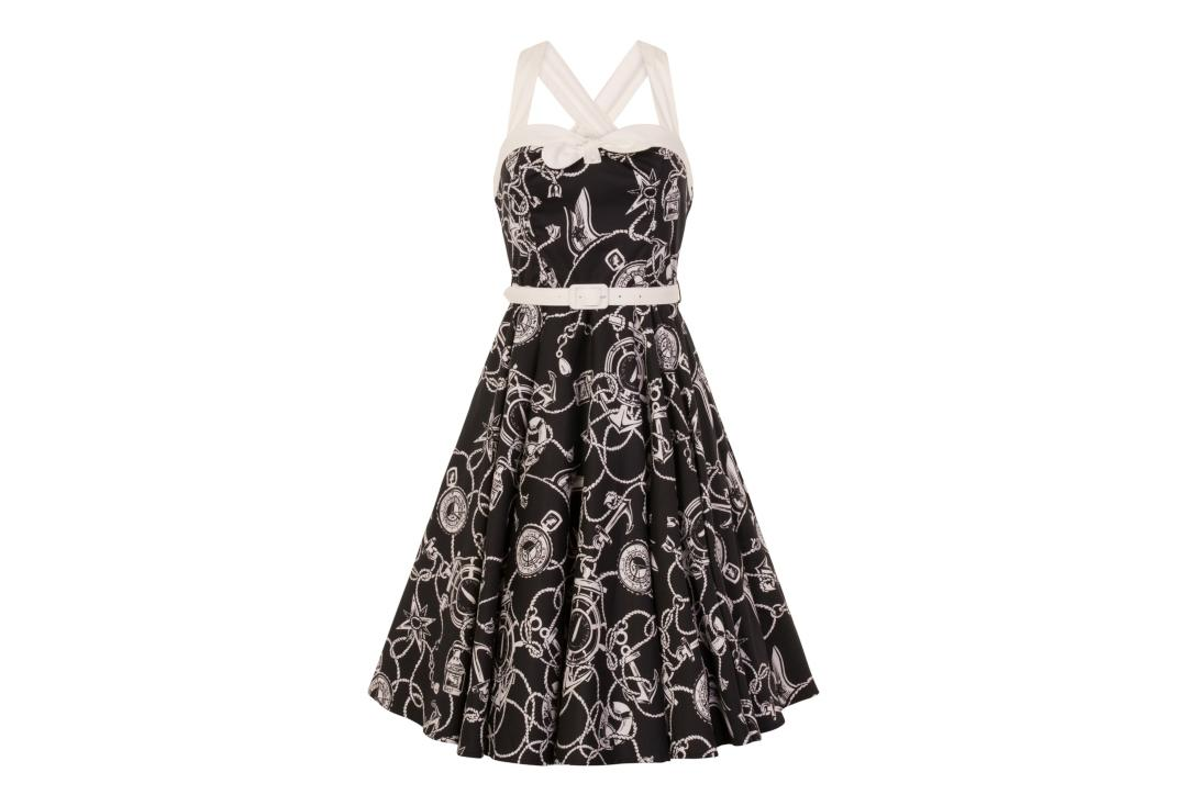 Hell Bunny | Mistral 50's Black & White Dress - Front Close