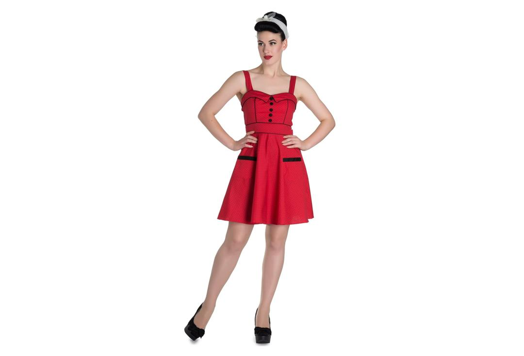 Hell Bunny | Vanity Red With Black Polka Dot Mini Dress - Front