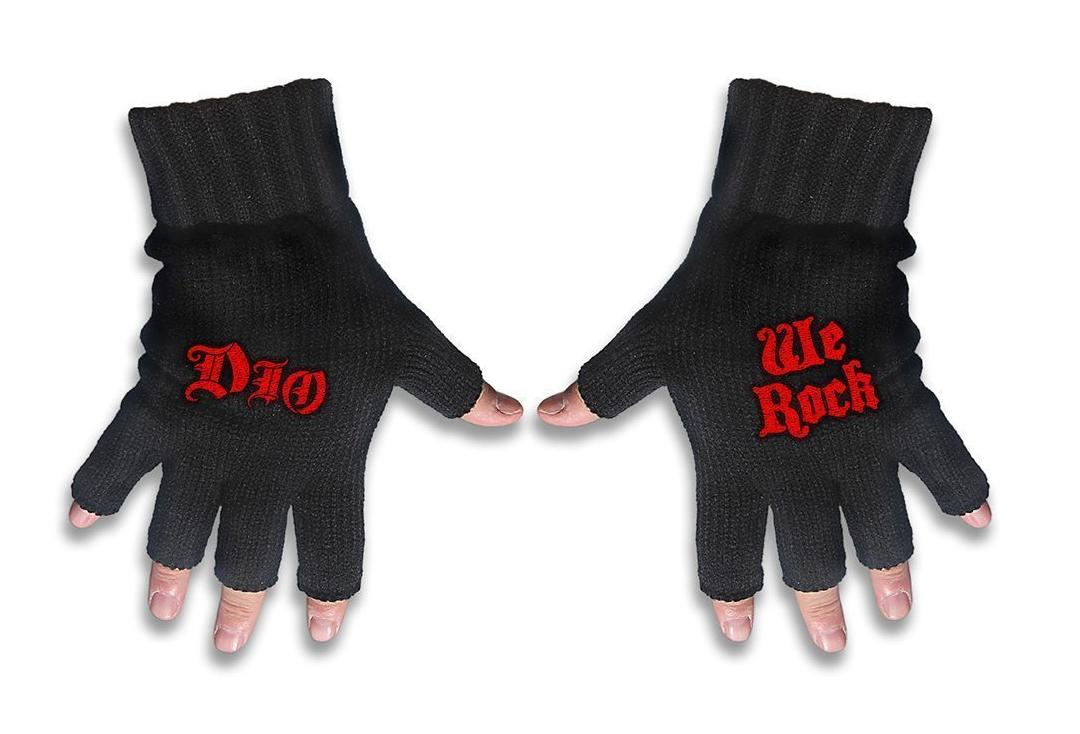 Official Band Merch | Dio - We Rock & Logo Embroidered Knitted Finger-less Gloves