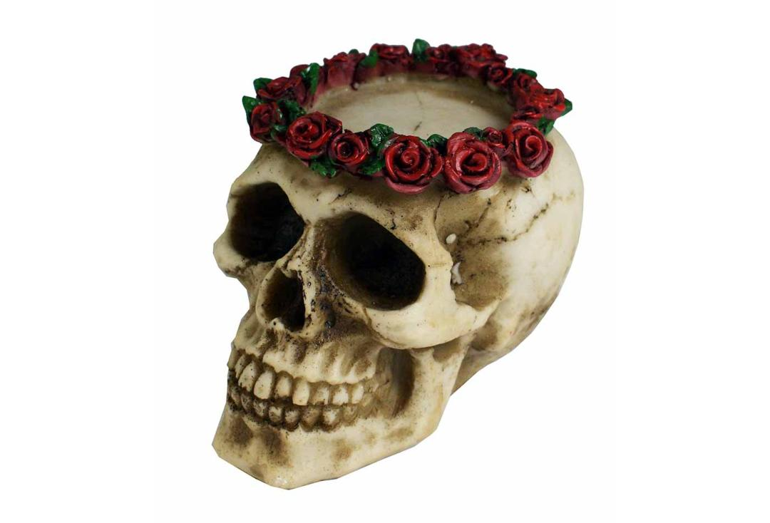 Void Clothing | Skull Rose Tea-Light Holder