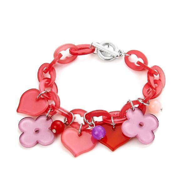 Pink Dress Bracelet Shopping Bracelet Fashion Bracelet Little Black Dress Jewelry Enamel Charm Bracelet Silver Bracelet Pink Bracelet.