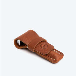 tan leather razor case