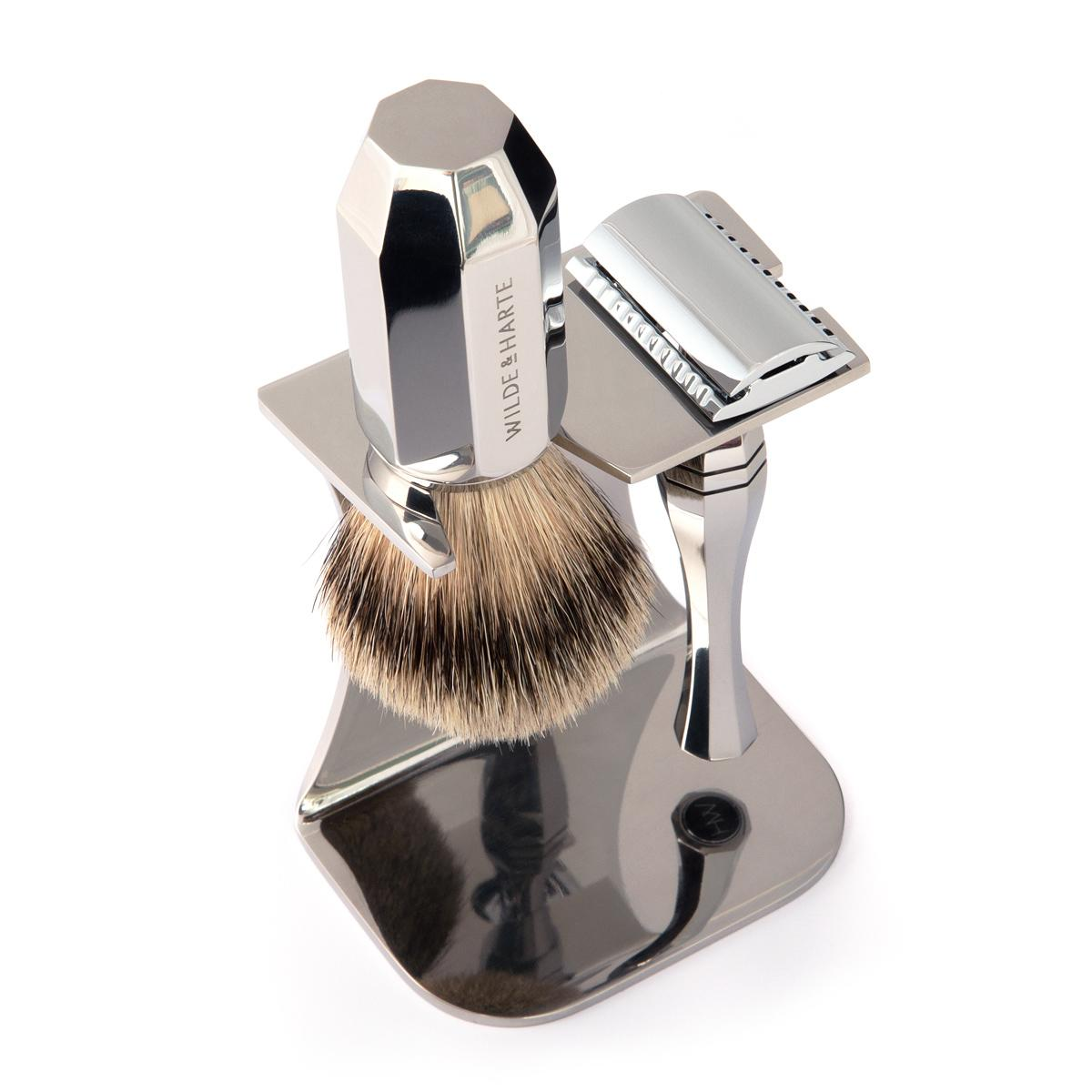 razor and shaving brush gift set