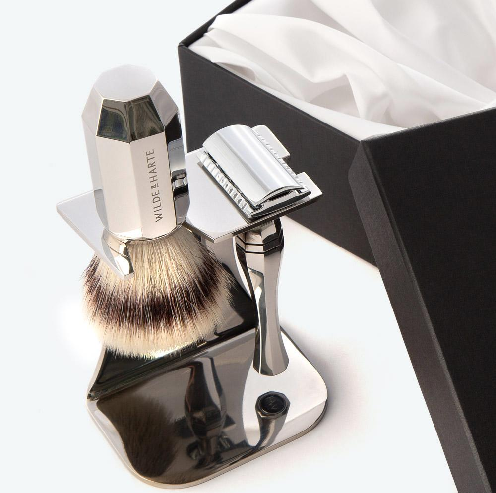 Synthetic fibre shaving brush sets