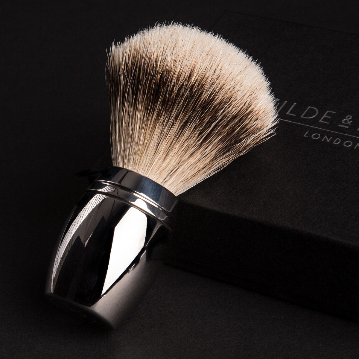 Badger Hair Shaving Brush in Stainless Steel Stand