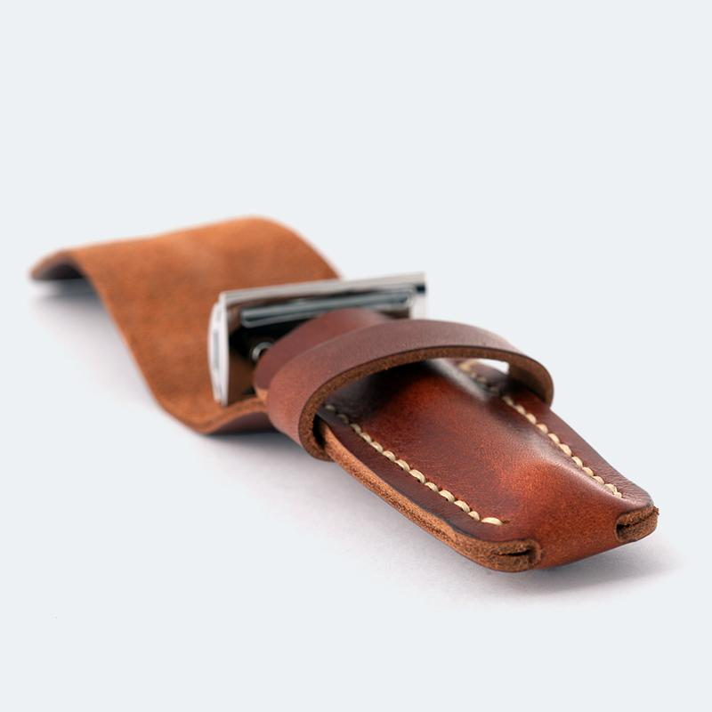 leather razor pouch made in UK