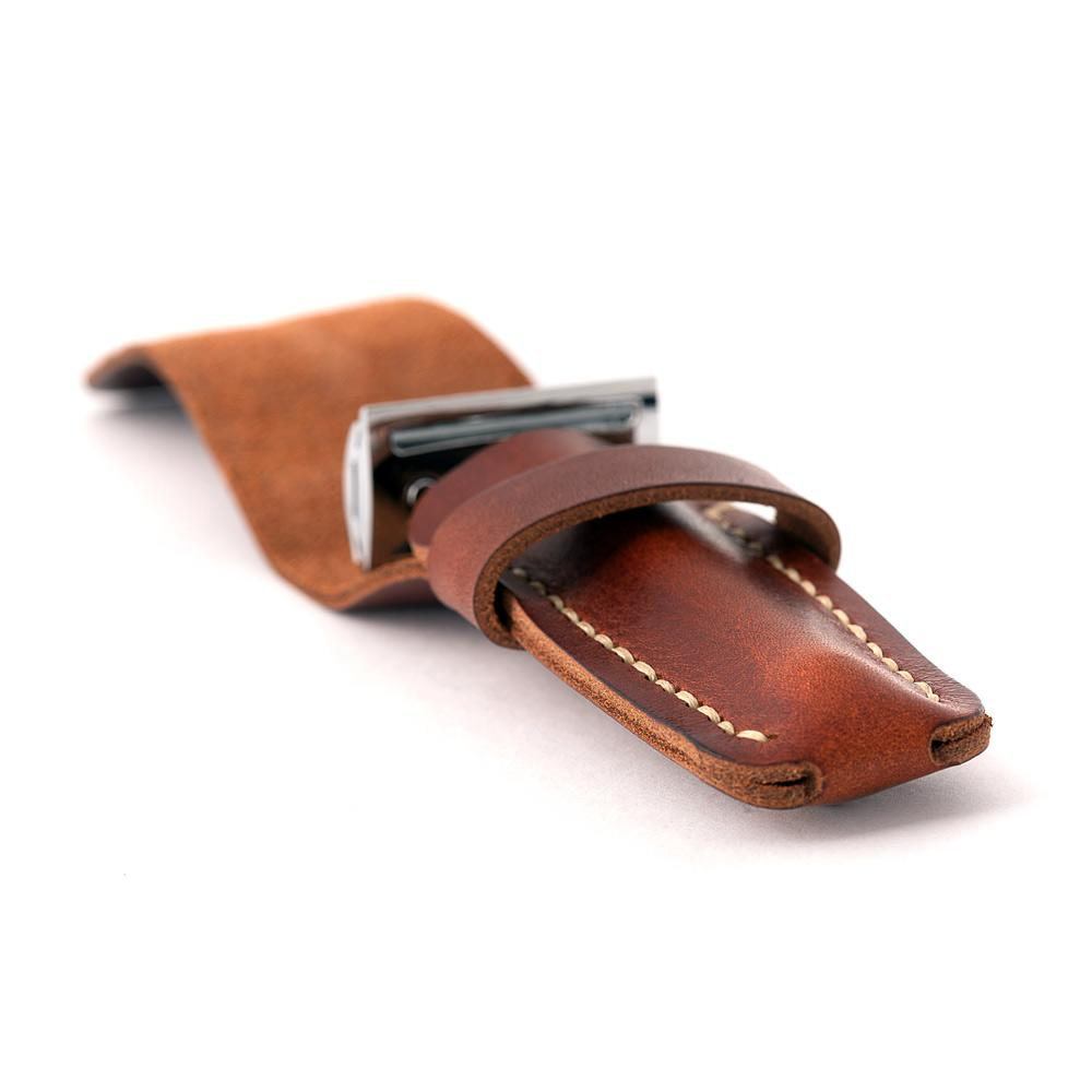 safety razor in brown leather pouch