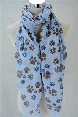 Blue Animal Paw Print Scarf