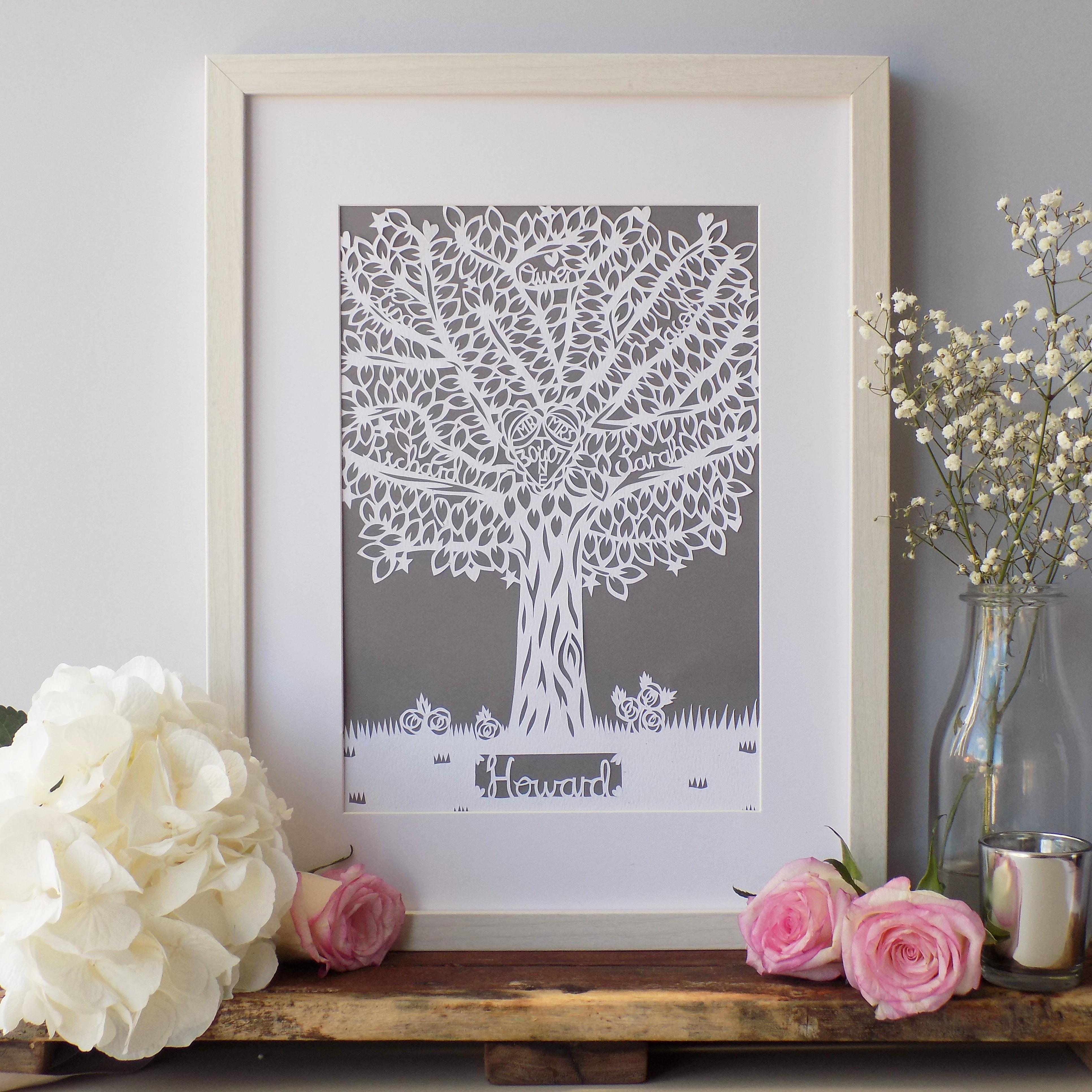 A close up of a family tree paper cut