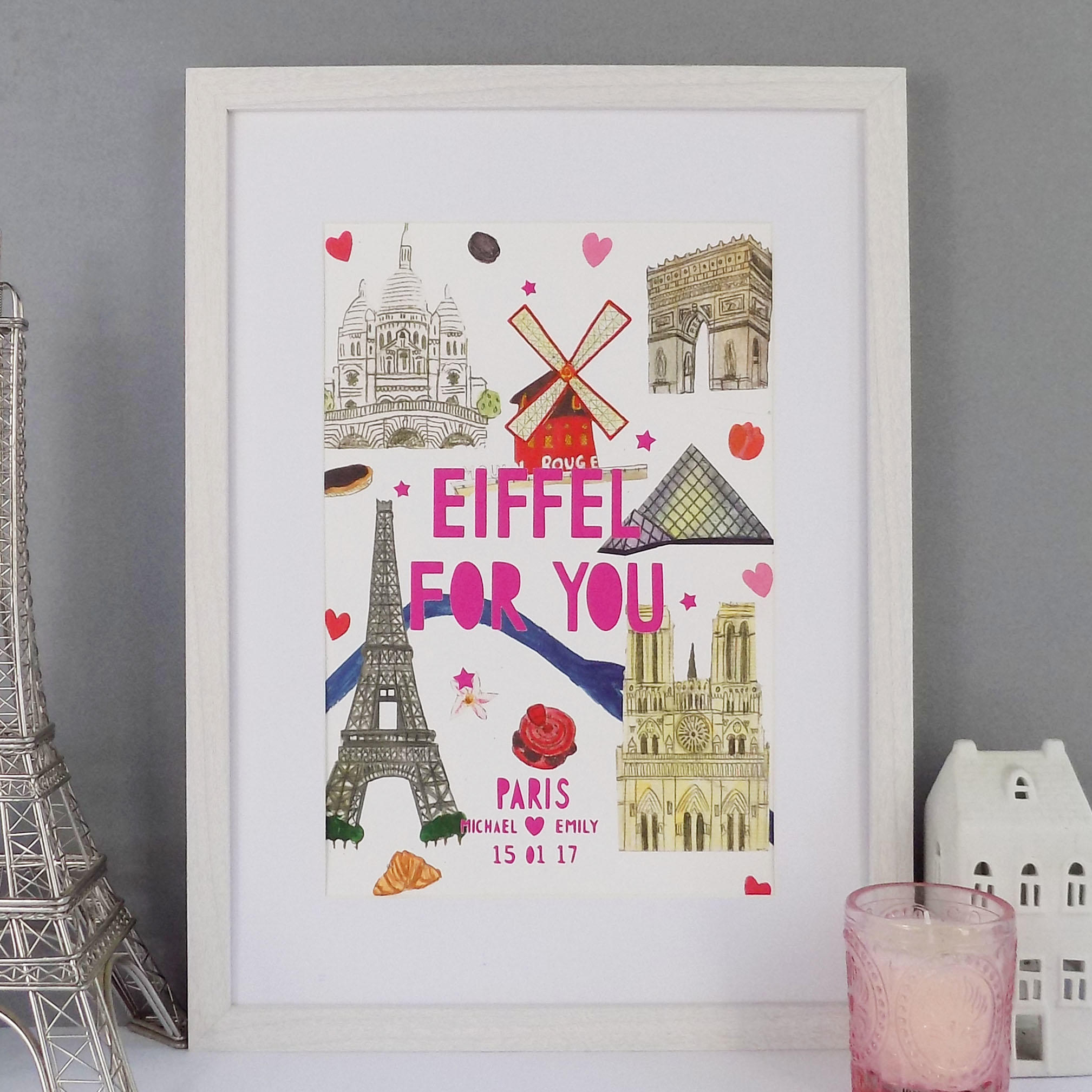 An illustrative Paris Landmarks print with bold bright pink typography that says 'Eiffel for You'