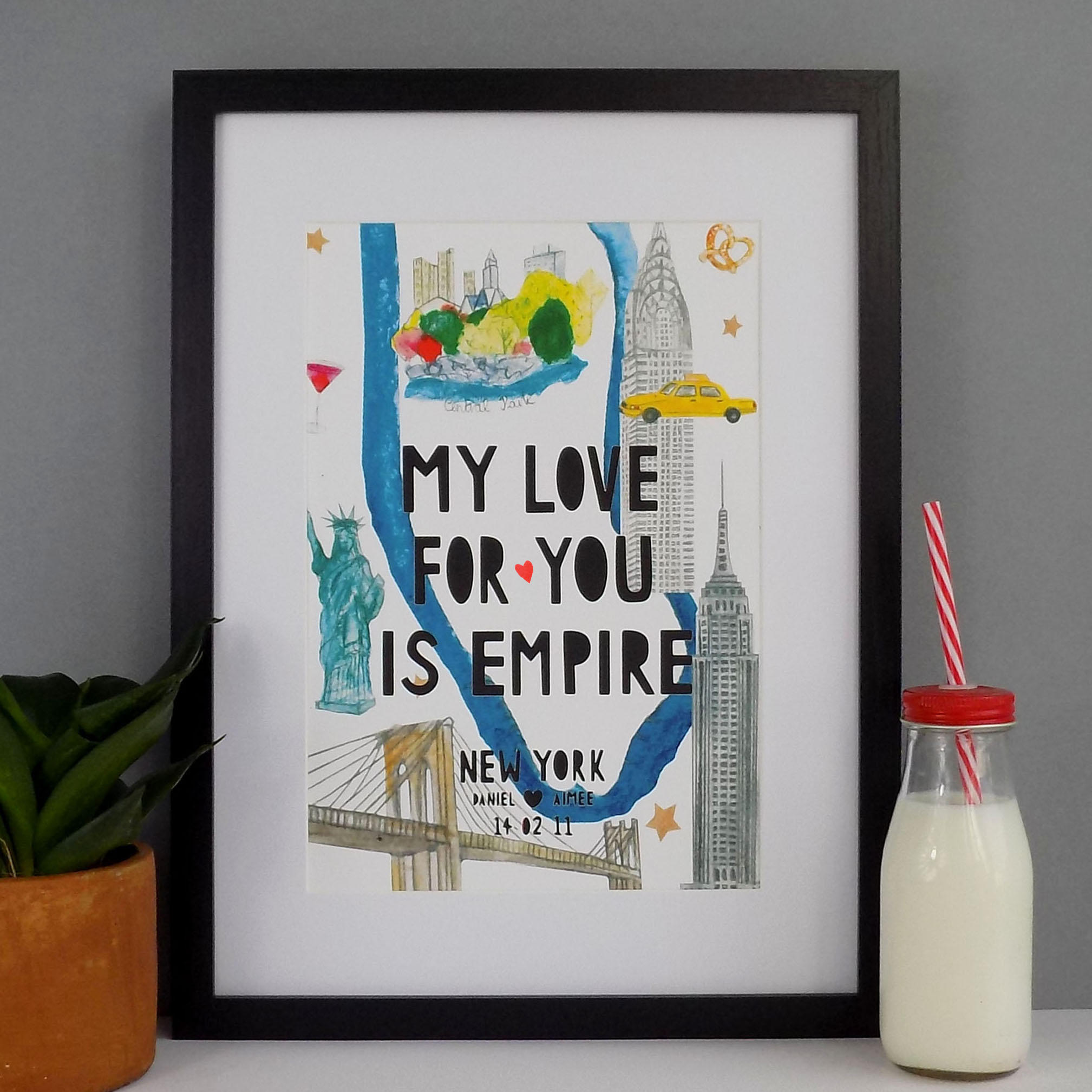 A new York illustrated map with bold black typography that says 'My love for you is empire' and customised to the names and date of a couple.