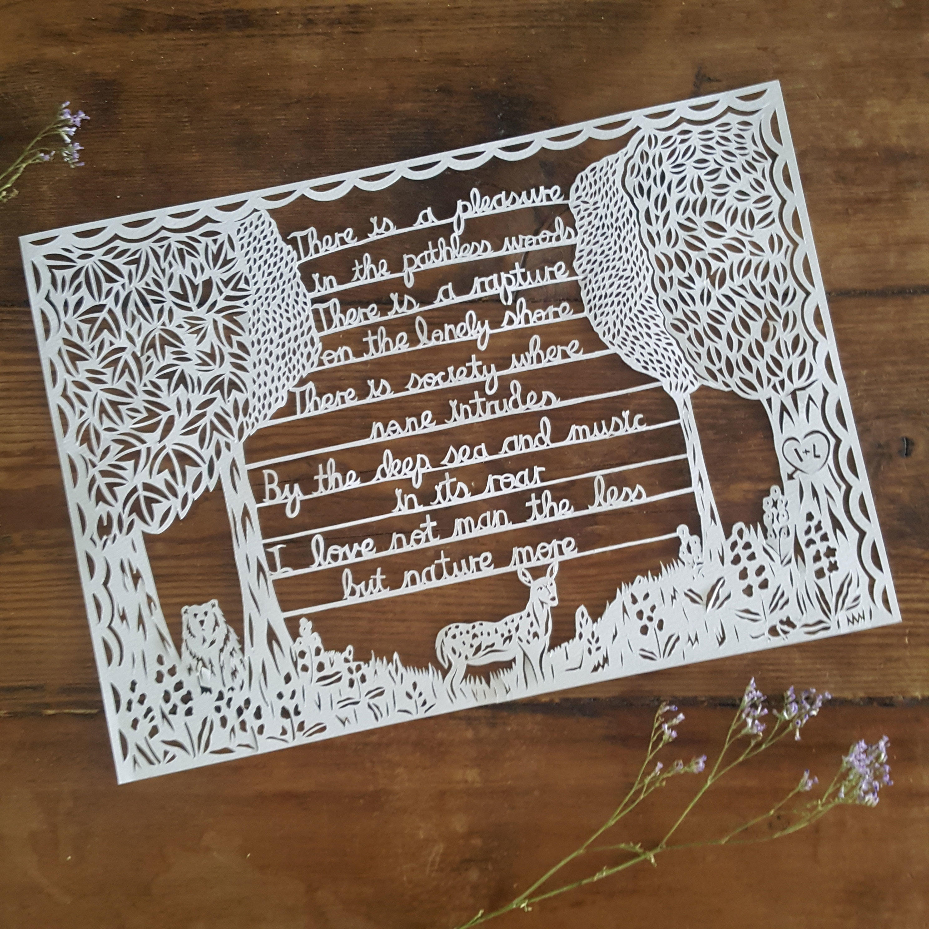 A hand drawn hand cut paper cut illustration telling a story, customised to the customer.