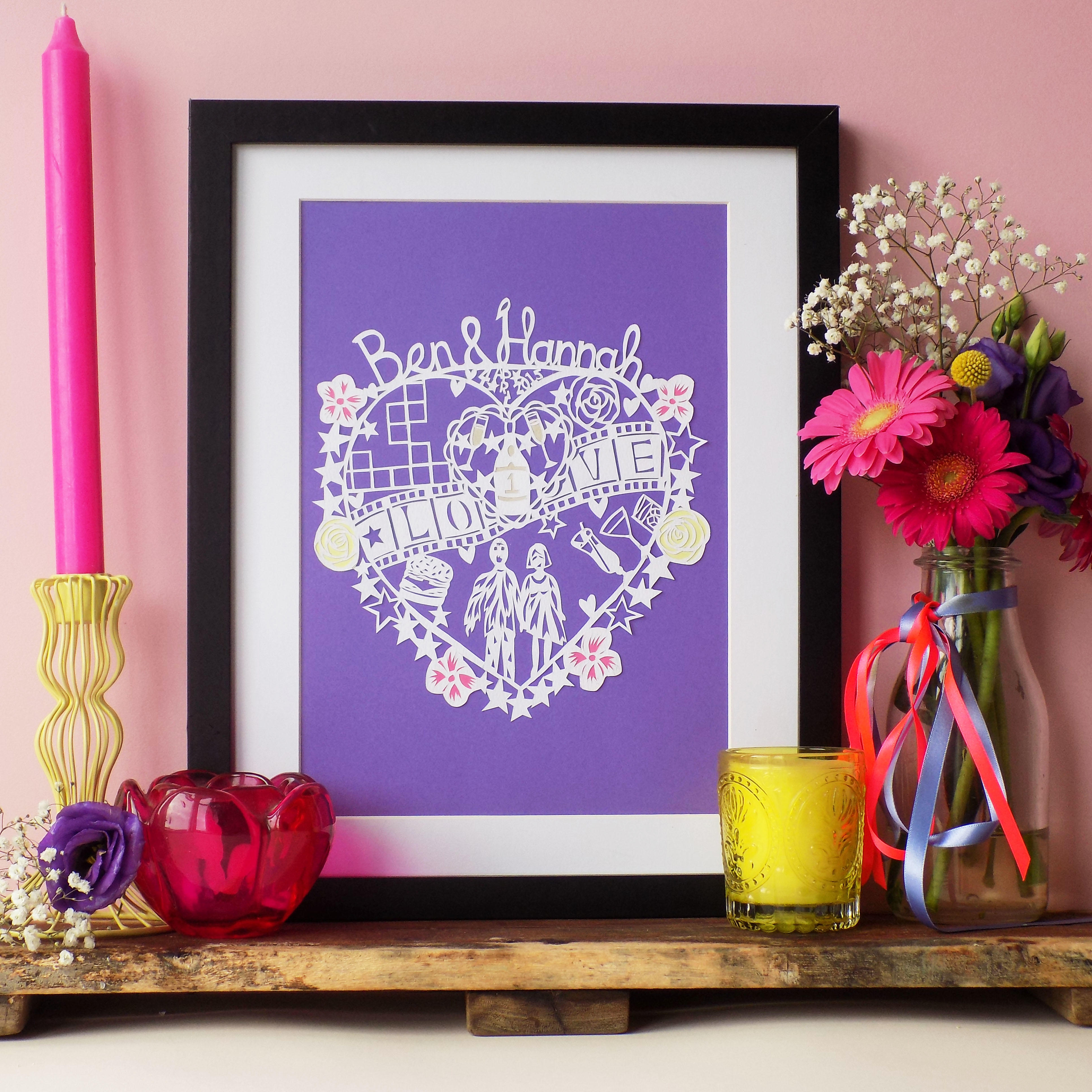 A hand drawn hand cut paper cut love heart featuring a song lyric, a special date, the couples names, and five small illustrations of their favourite things with a starry outline.