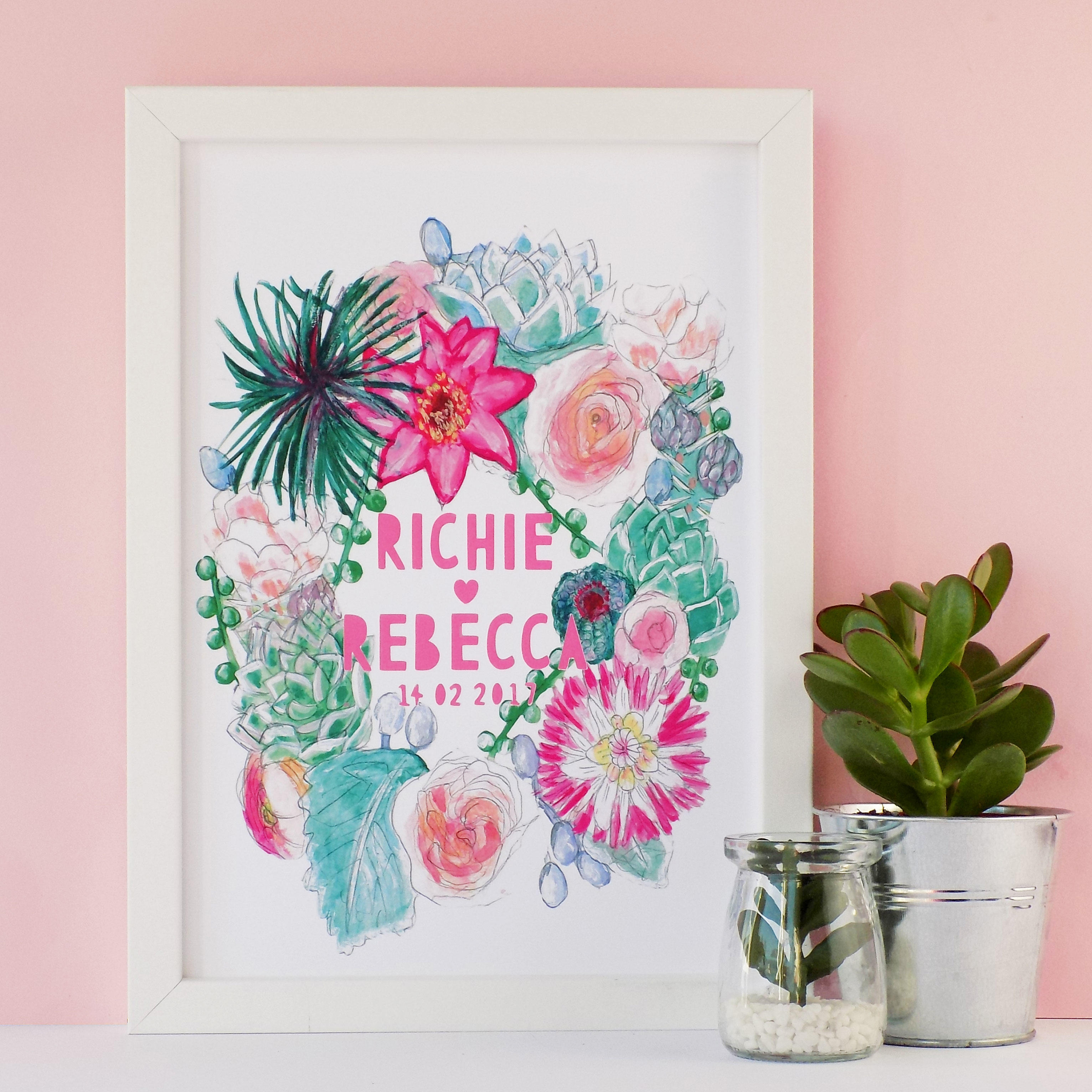 A  pretty succulents and floral watercolour illustrative wreath. Customised to the names and date of your choice with bright, modern paper cut typography.