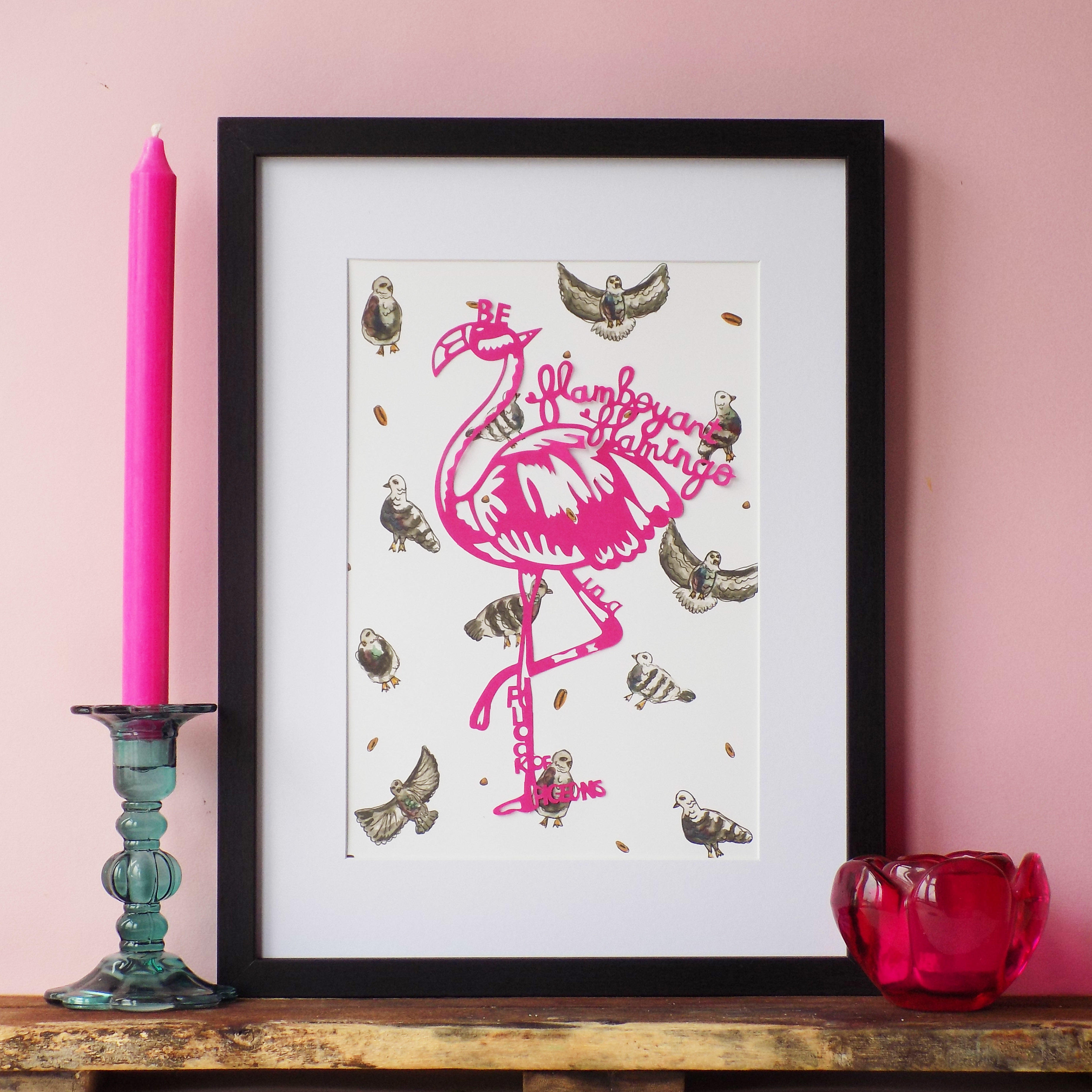 A paper cut flamingo overlaid on watercolour illustrations of pigeons