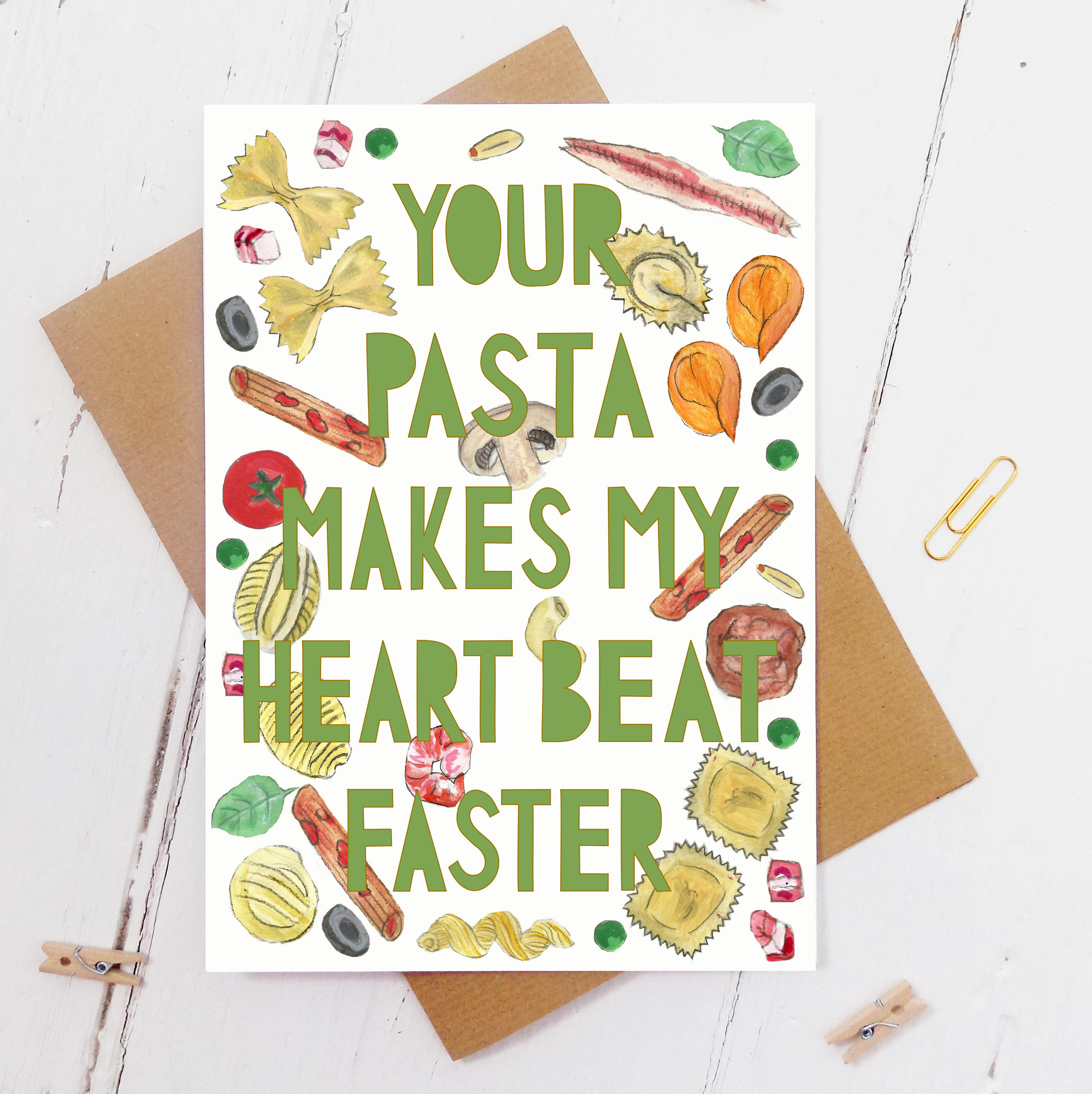 Watercolour illustrations of different pasta with paper cut typography cut out from top to bottom saying 'my heart beats faster for your pasta'