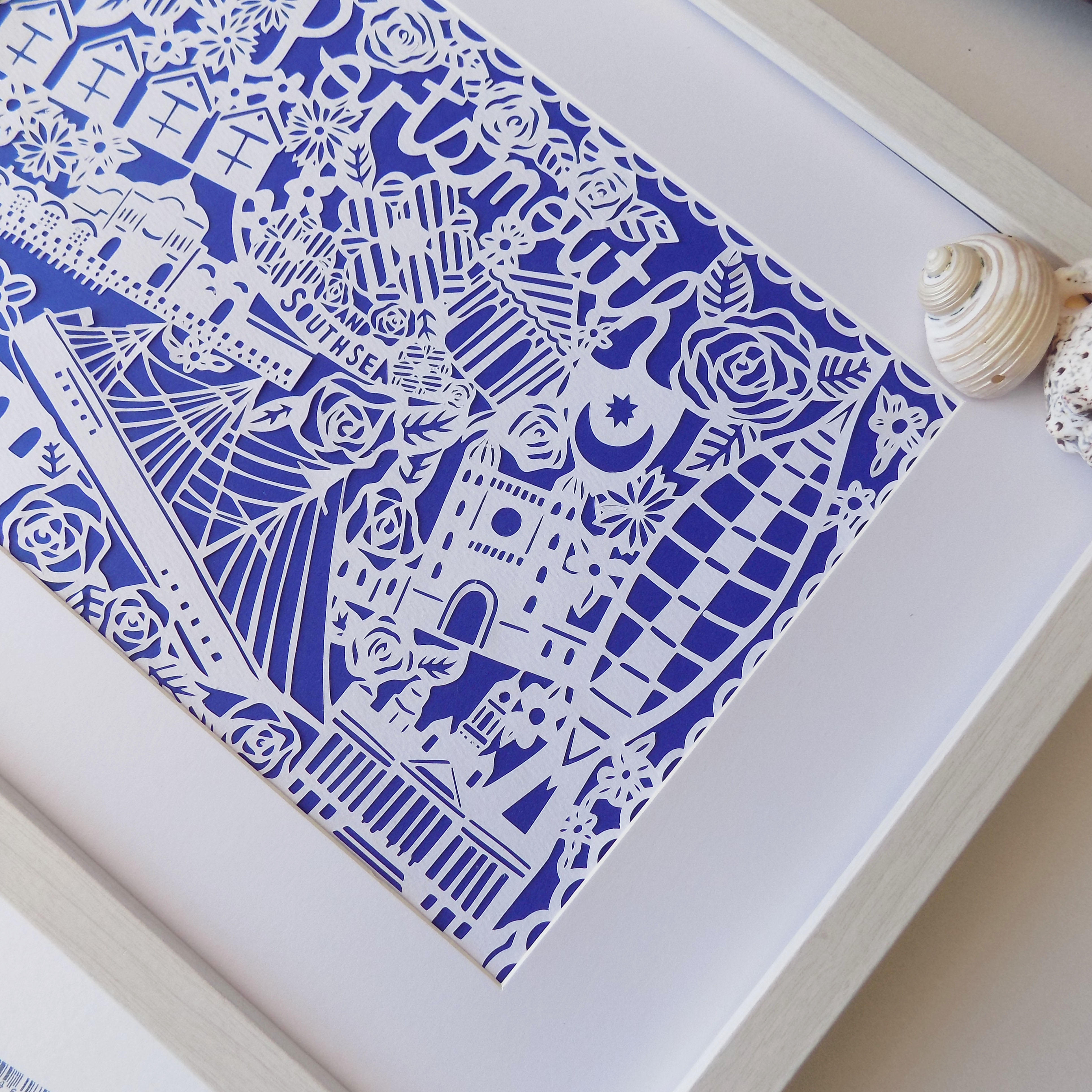 A second close up of a Portsmouth Paper Cut.