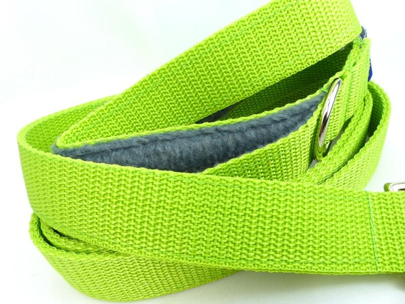 Lime green webbing long lead