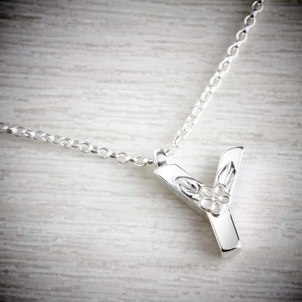 Silver Letter Y Necklace, made by Elin Mair, Image property of THE JEWELLERY MAKERS