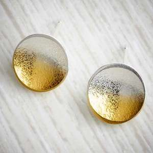 silver and gold ombre small stud earrings by Melanie Ankers, Kokkino. Image property of  THE JEWELLERY MAKERS
