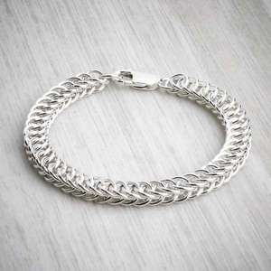 Silver Chainmaille Half Persian Bracelet by Laura Brookes. Image property of THE JEWELLERY MAKERS