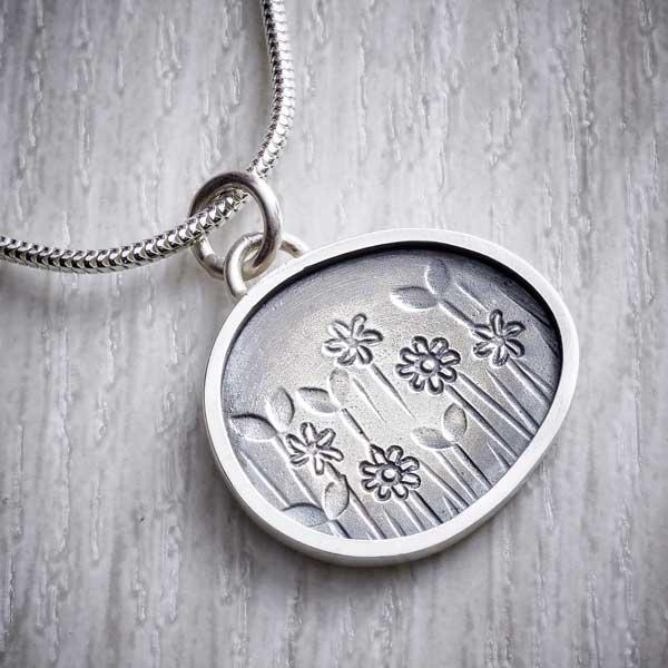 Silver Spring Meadow Pendant - Close up - by Helen Shere